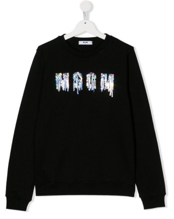 MSGM Baby- Sequins Logo Sweatshirt- Black