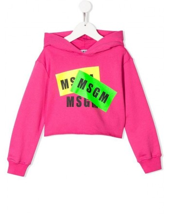 MSGM Baby- Felpa Stampa Logo - Fucsia