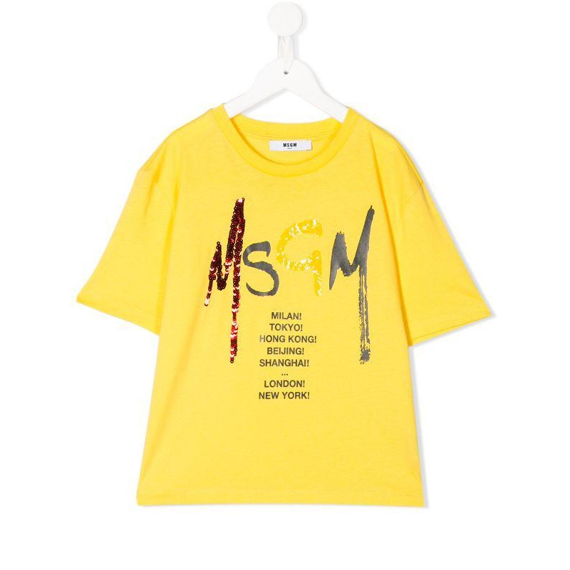 MSGM Baby- Sequins Logo Printed T-Shirt- Yellow