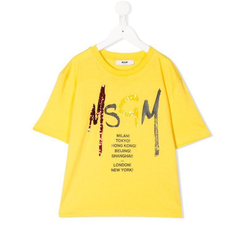 MSGM Baby- T-Shirt Stampa Logo Paillettes- Giallo