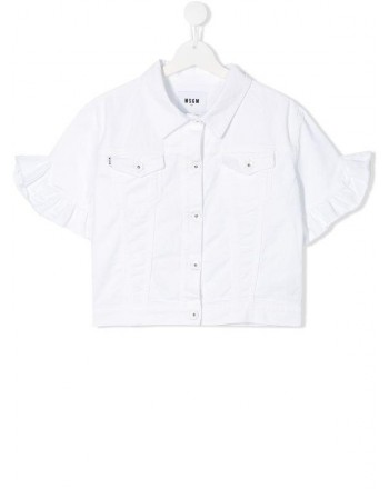 MSGM Baby- Short Sleeves  Denim Jacket- White
