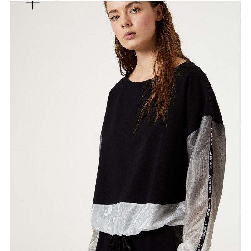 LIU-JO Sport - Lurex and cotton Sweatshirt  - Black