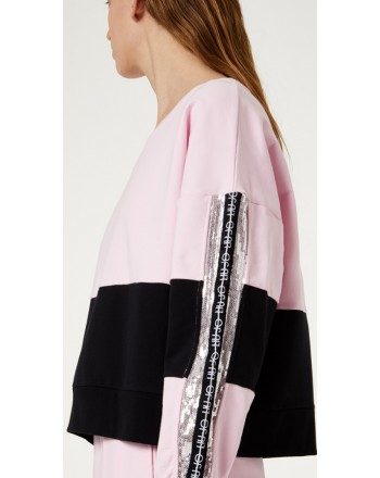 LIU-JO Sport - Sweatshirt with sequins details - Pink lady/Black