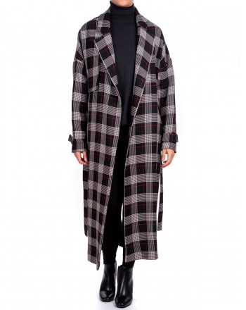 PINKO - Matthew Double breasted Coat - Black/Red/White