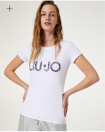 LIU-JO - T-Shirt Logo Maculato- Bianco/Maculato Tropical