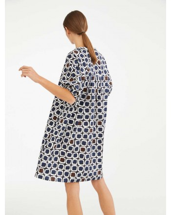 S MAX MARA - Cotton poplin dress - HILTER - Blue / Dark Brown