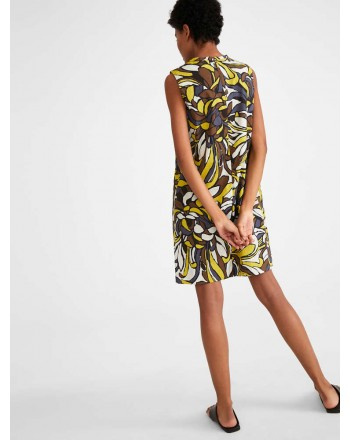 S MAX MARA - Cotton poplin dress - ROCCO - Yellow / Maxi flowers