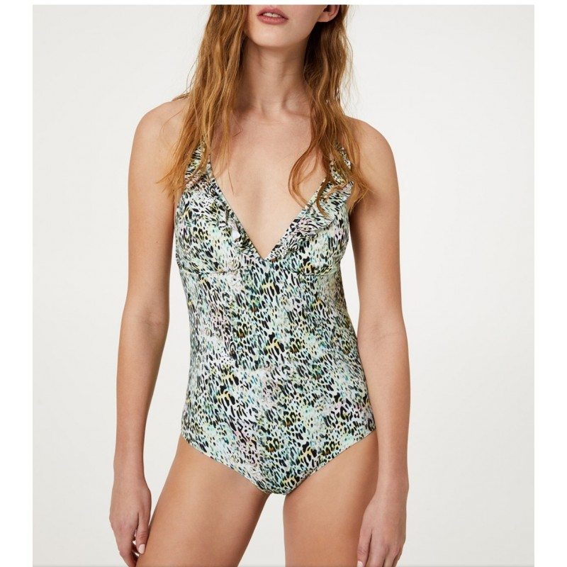 LIU- JO BEACHWEAR  -Backside Crossed Swimsuit - Tropical Animalier