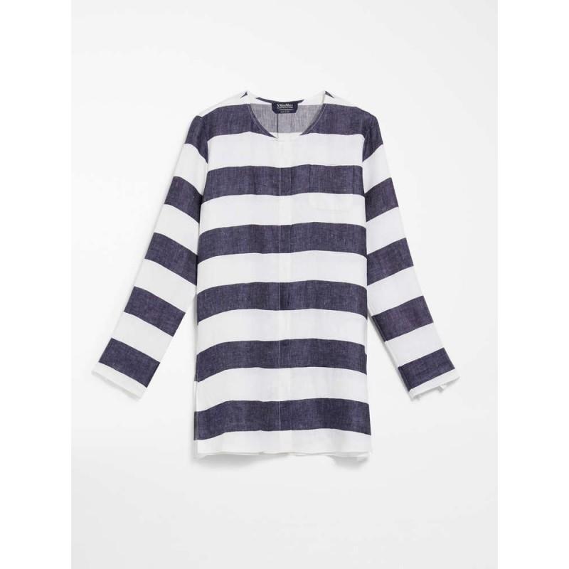S MAX MARA - Camicia in tela di lino - NOVELI- Ecrù/Blu