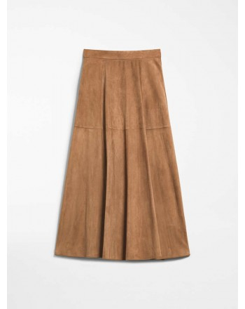 S MAX MARA - Suede skirt - ONORE - Desert Camel