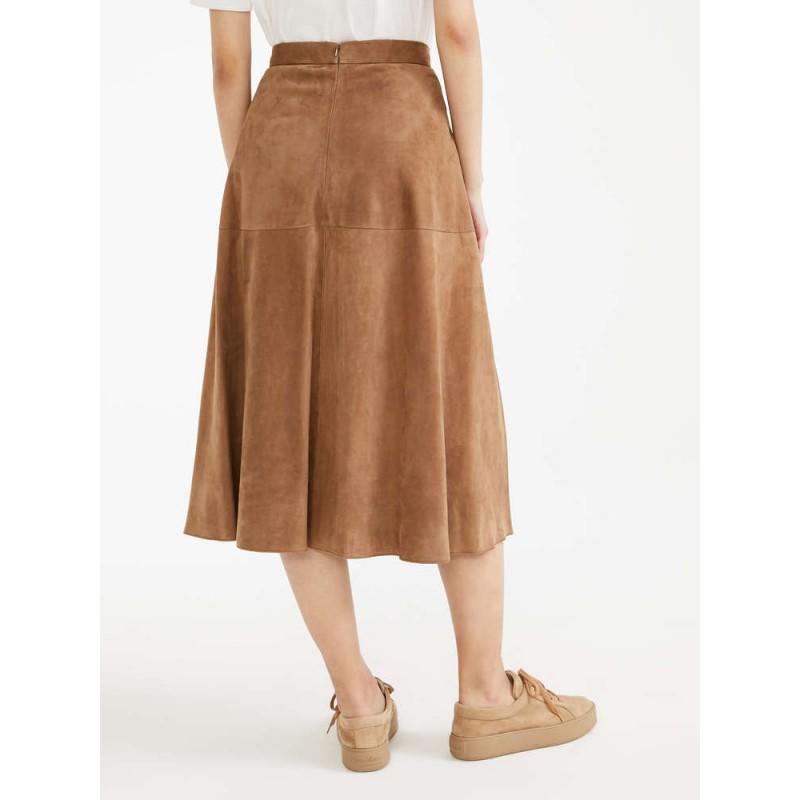 S MAX MARA - Suede skirt - ONORE - Desert Camel