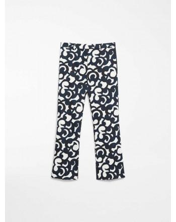 S MAX MARA - Cotton satin trousers - SUMMER - Blue / White