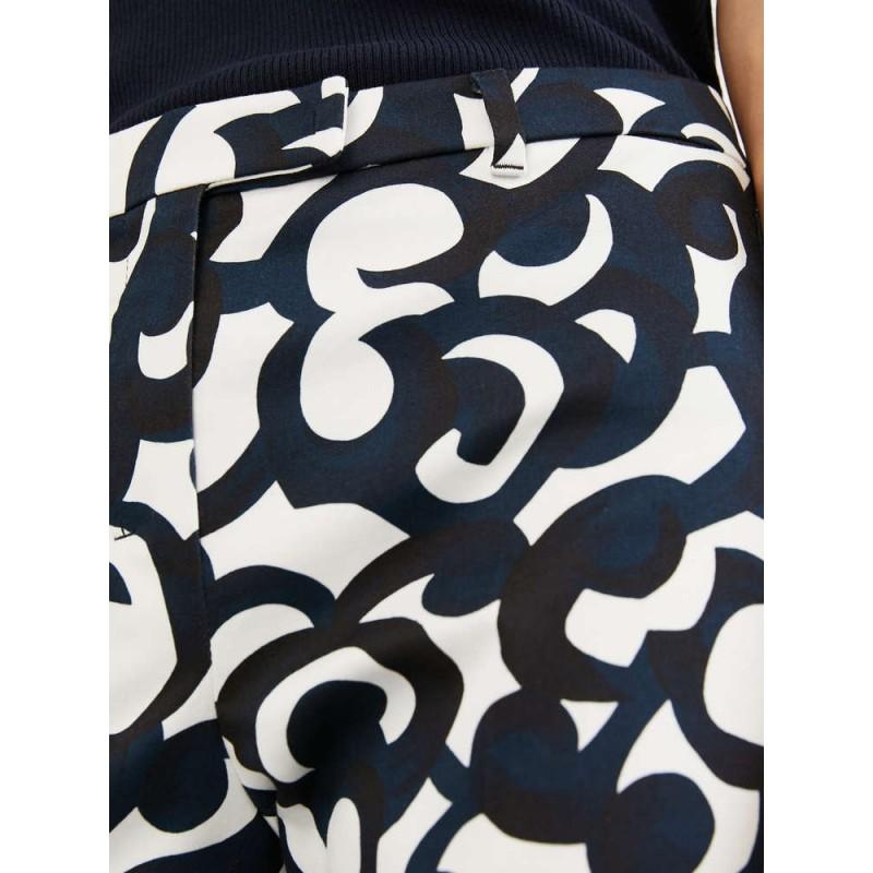 S MAX MARA - Pantaloni in raso di cotone - SUMMER - Blu/Bianco