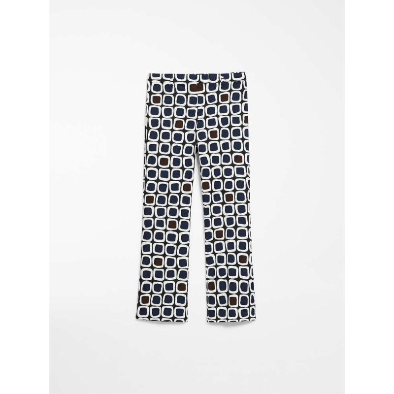 S MAX MARA - Cotton satin trousers - GEODE - Blue / Dark Brown