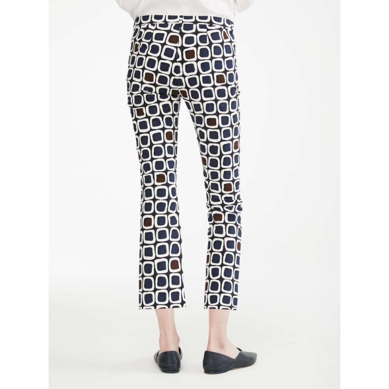 S MAX MARA - Pantaloni in raso di cotone - GEODE - Blu/Moro
