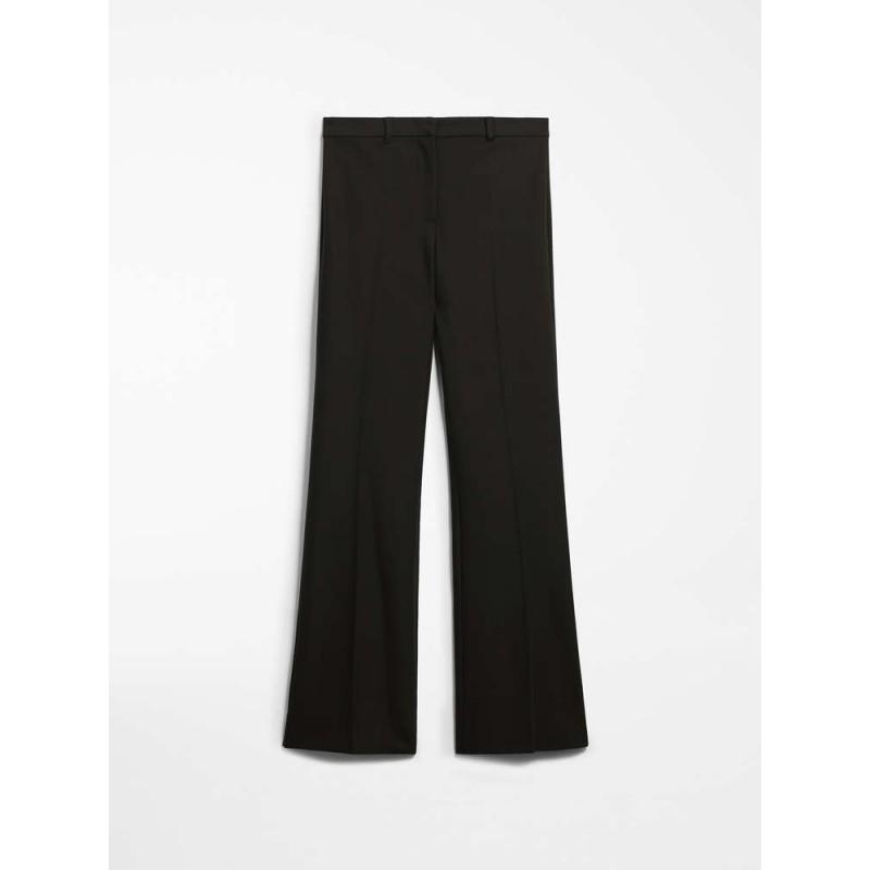 S MAX MARA - Cotton and viscose trousers - LANDA - Black