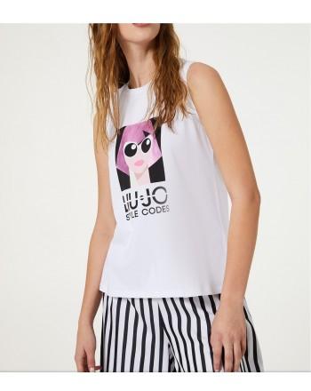 LIU-JO - T-Shirt Stampa Logo- Bianco/Lilac