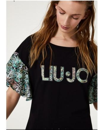 LIU-JO MARE  - Abito con Logo e Maniche Stampa Maculato - Nero/Maculato Tropical