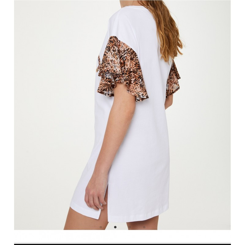 LIU- JO BEACHWEAR  -Animalier Sleeves and Logo Dress  - White/Lilac