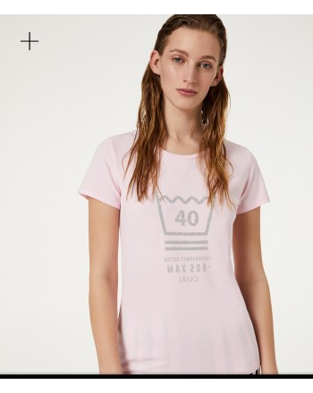 LIU-JO Sport - Printed  BASIC Cotton T-Shirt - Pink Lady
