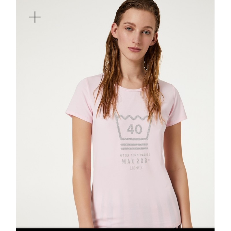 LIU-JO Sport - Printed  BASIC Cotton T-Shirt - Pink Lady