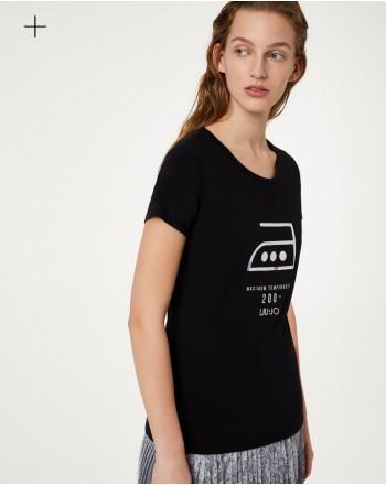 LIU-JO Sport - Printed  BASIC Cotton T-Shirt - Black iron