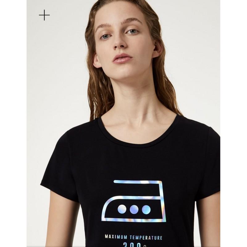 LIU-JO Sport - T-Shirt in cotone con stampa- Nero Iron