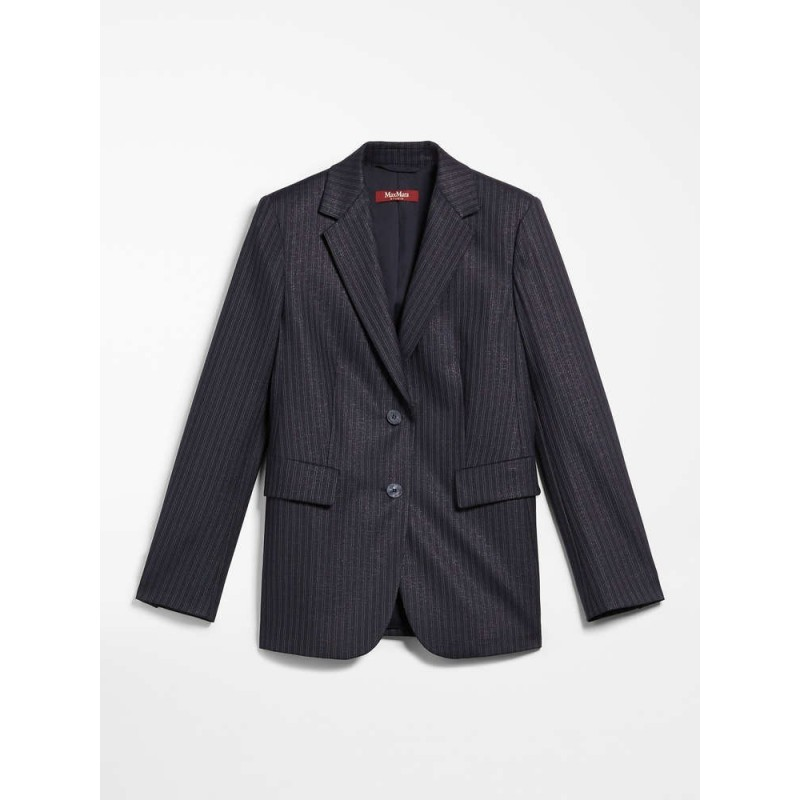 MAX MARA STUDIO - DAVIDE Wool and Viscose Blazer- Blue/Cacha/Lamè