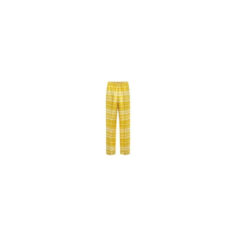 DRIES VAN NOTEN - Pantaloni a righe in raso - Giallo