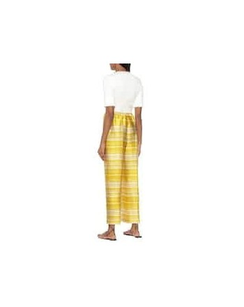 DRIES VAN NOTEN - Striped satin trousers - Yellow