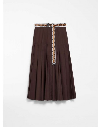 MAX MARA STUDIO - ERICA Midi Pleated Skirt- Chocolate