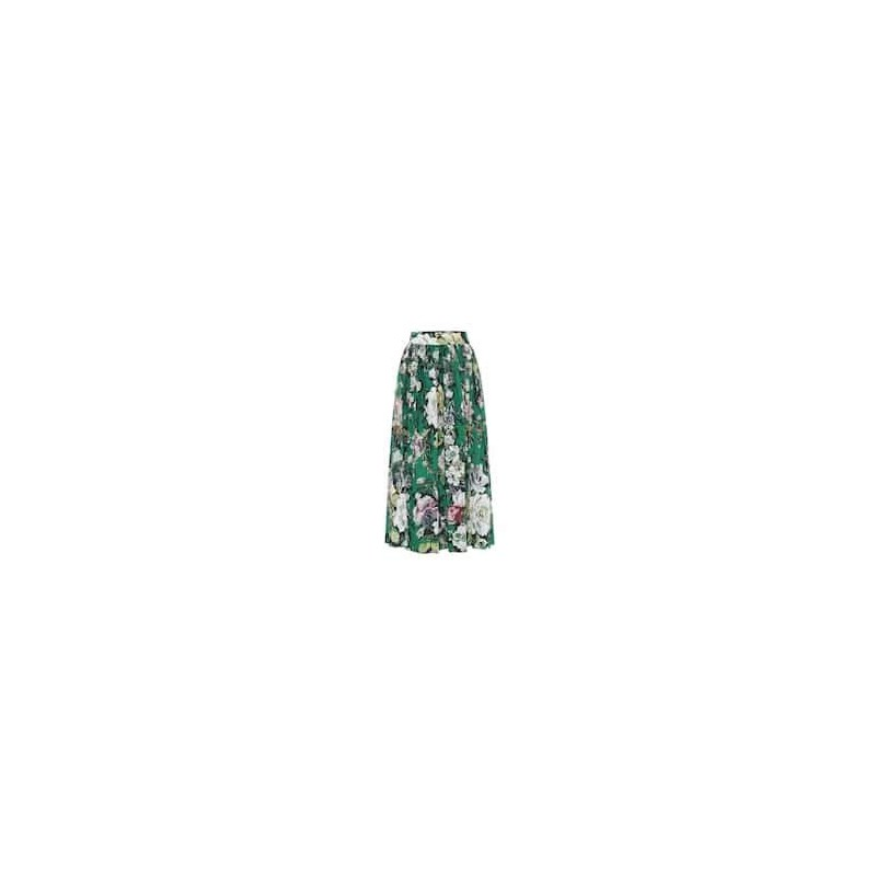 DRIES VAN NOTEN - Floral printed cotton skirt - Green
