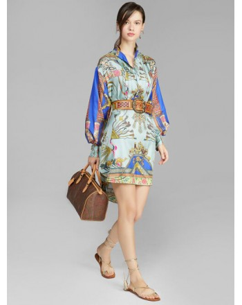 ETRO- TIARE Silk Chemisier Dress - Aquamarine