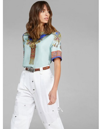ETRO- MIMOSA Silk Twill Top- Sky Blue