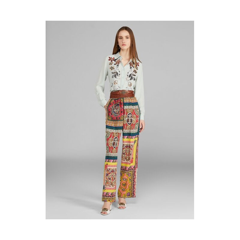 ETRO- Crepe de Chine Wide Leg Trousers- Multicolour