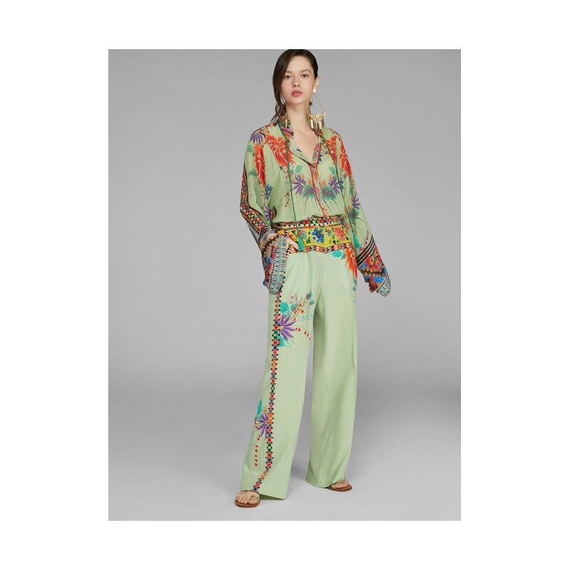 ETRO- Silk Flower Patterned Wide Leg Trousers- Light Green