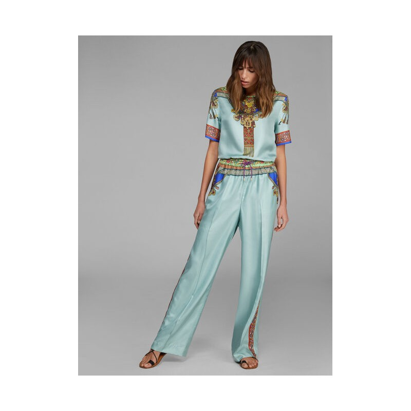 ETRO- Silk Wide Leg Trousers- Light Green