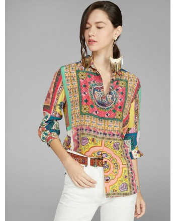 ETRO- MINI Crepe de Chine Shirt- Multicolour