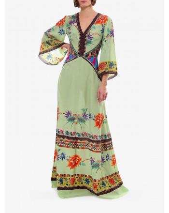 ETRO- SAFFRON Silk Long Dress- Light Green