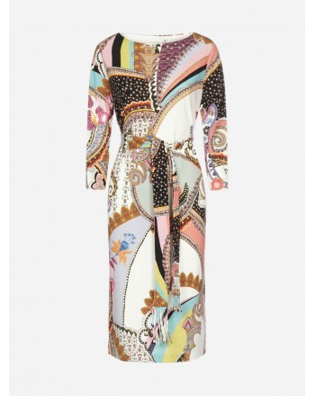 ETRO - Midi Viscose Patchwork Dress- Ivory
