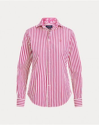 POLO RALPH LAUREN . STRIPPED COTTON SHIRT WHITE/FUCHSIA