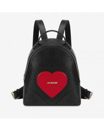 LOVE MOSCHINO- Logo Heart Backpack - Black/Red