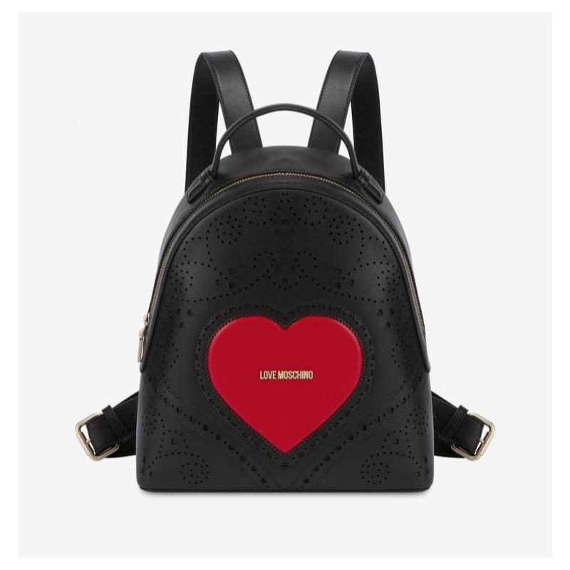 LOVE MOSCHINO- Zaino con Cuore e Logo - Nero/Rosso