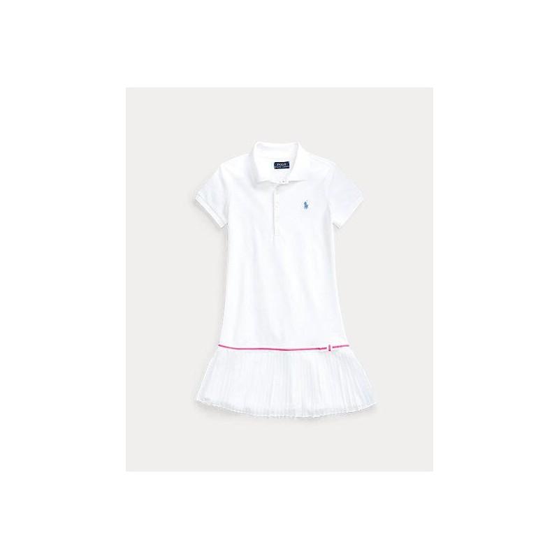 POLO RALPH LAUREN KIDS - Abito mezza manica polo - Bianco