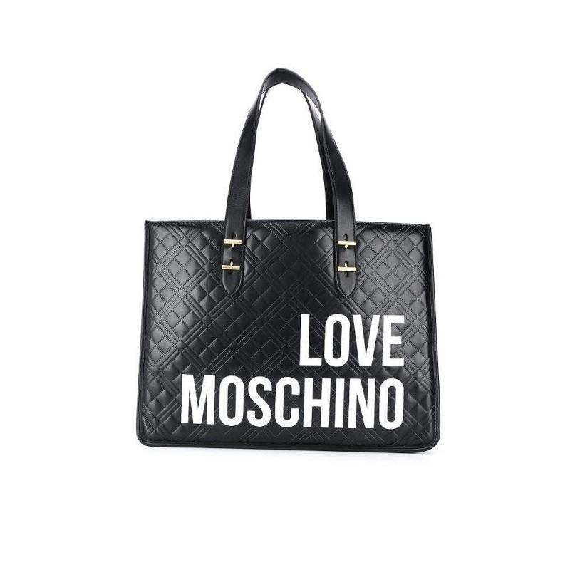LOVE MOSCHINO - Shopping trapuntato con scritta - Nero