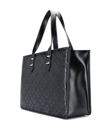 LOVE MOSCHINO - Quilted shopping with writing - Black