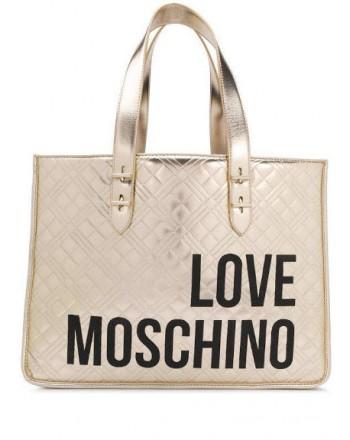 LOVE MOSCHINO - Shopping trapuntato con scritta - PLatino