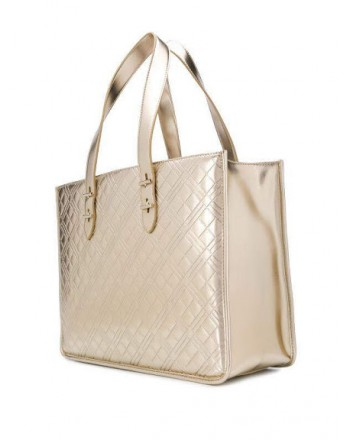 LOVE MOSCHINO - Quilted shopping bag with writing - Platinum