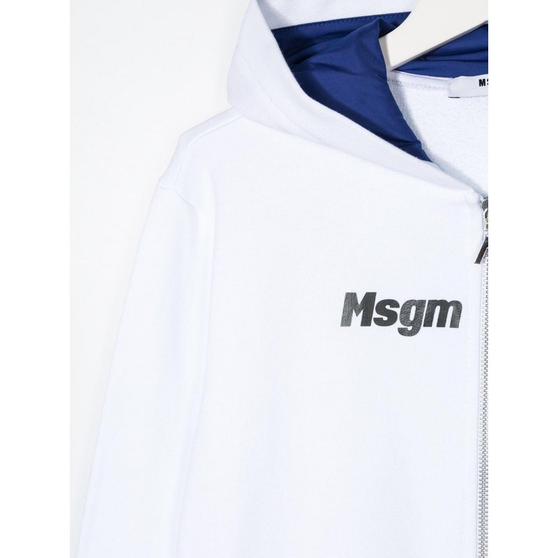 MSGM Baby- Cotton Sweatshirt with Multicolour Print - White