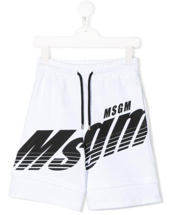 MSGM Baby- Bermuda in Cotone Logo - Bianco